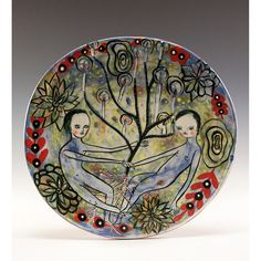 Plate  Painting by Jenny Mendes on a round ceramic plate