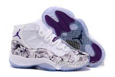 Girls Air Jordan 11 GS Size Floral Flower Custom White Purple