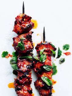 Sambal Chicken Skewers ~ An Asian kebab, with a spicy, sticky glaze ~ Top rated reviews on Bon Appetit!
