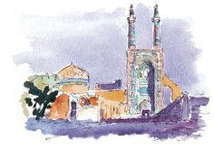 Yazd, Iran. Watercolours by Ole Sondergaard