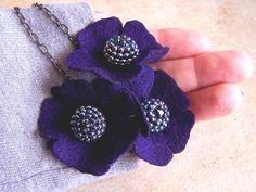 Felt Floral Jewelry Handmade Necklace Blackberry Purple Geranium