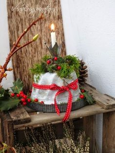 A Gugelhupf made of concrete is the newest gem on our balcony., A Gugelhupf made of concrete is the newest gem on our balcony. It was created before Christmas, but yesterday . Christmas Time, Christmas Wreaths, Christmas Decorations, Xmas, Flower Picture Frames, Diy On A Budget, Diy Art, Ladder Decor, Bedroom Decor