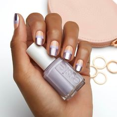 this chic metallic essie nail art design mani using 'perennial chic' a sumptuous tawny tulip, 'lilacism' a satiny smooth lilac and 'nothing else metals'
