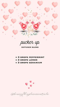 pucker up diffuser blend | valentine's diffuser blends | young living essential oils | diffuser blends | diffuser recipes | wellness | eo | peppermint | lemon | geranium | romantic diffuser blends #oils #essentialoil #diffuser #diffuserblend #youngliving #diffuserrecipe #valentine