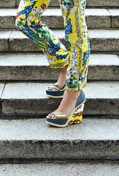 Scarf Print Silk Trousers and Scarf Print Wedge Heel.   Shop the trousers: http://goo.gl/y2CUU.  Shop the wedges: http://goo.gl/F2yfS