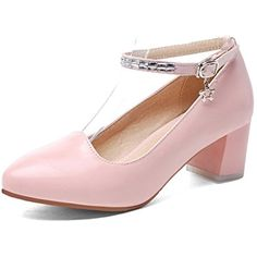 Women's Solid Kitten Heels Buckle Round Closed Toe Pumps-Shoes -- Check this awesome product by going to the link at the image. (This is an affiliate link) #Pumps