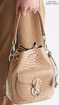 Ralph Lauren ~ Pre-Fall Leather Bucket Bag, Natural 2015