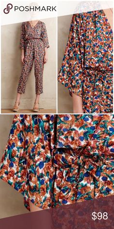 RARE Anthropologie Fiore Jumpsuit  Size small. Boemo from Anthropologie. Material is 100% viscose.  Anthropologie Pants Jumpsuits & Rompers