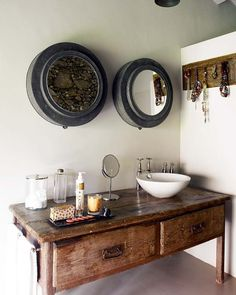 Thought of using furniture that's longer then a small vanity. my space isn't that wide but using furniture would make it wider then it is now. The Complete Guide to Using Vintage Furniture as a Bathroom Vanity Design Rustique, Rustic Design, Rustic Decor, Old Furniture, Rustic Furniture, Vintage Furniture, Furniture Vanity, Repurposed Furniture, Bathroom Furniture