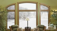 """Custom-shaped eyebrows, casements and a fixed window become a """"frame"""" for outside scenery. #homeimprovement #homedesign"""