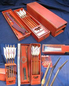 Antique modular indoor archery set with collapsible small bow (koyumi), used by samurai women during the Edo period to play a game (yokyu), the game was also played in game centers by the public, the game center was called yokyuba in Kyoto/Osaka or yaba in Edo (tokyo).