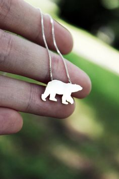 Tiny Polar Bear necklace sterling silver by justplainsimple
