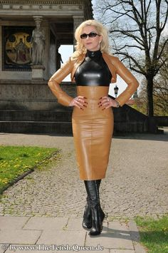 Leather Kingdom Fashion Shop - Lederrock - designed by Crazy Outfits Sexy Outfits, Crazy Outfits, Leder Outfits, Latex Dress, Leather Dresses, Latex Fashion, Lady, Blond, Dress Skirt