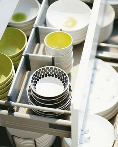 Draw dividers.. help keep everything neat ... not just bowls, but cups, pans and even veggies