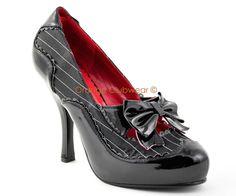 PLEASER Womens 20s Gangster Pinstripe Spectator Pumps High Heels Costume Shoes[10]