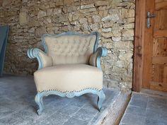 vintage fotel, antik bútor Rustic Furniture, Antique Furniture, Wabi Sabi, Vintage Designs, Accent Chairs, Armchair, Shabby Chic, Antiques, Home Decor
