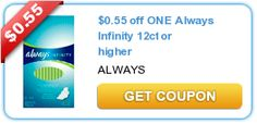 $0.55 off ONE Always Infinity 12ct or higher