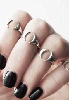 Cast Dark Open Sterling Silver Moon Midi Ring