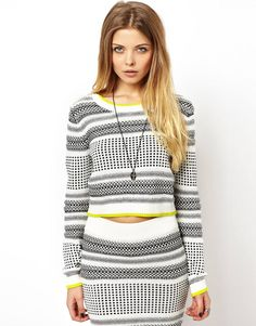 Textured Stripe Crop Sweater