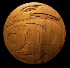 """Fantastic carved cedar """"Raven Ellipse."""" Artist Barry Herem. Northwest Coast Art"""