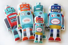 Retro ROBOT toy fabric plush softie - makes a great throw pillow for a nursing chair in a boy's nursery