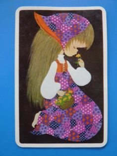 Single Sarah Kay 70's Blank Back Girl Flower Vintage Swap Playing Card | eBay