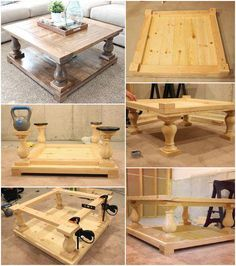Self-Made Balustrade Coffee Table with Lower Shelf - 20 Easy Free Plans to Build a DIY Coffee Table - Diy Furniture Ideas Diy Furniture Plans, Woodworking Furniture, Home Furniture, Cheap Furniture, Business Furniture, Furniture Cleaning, Furniture Dolly, Furniture Online, Outdoor Furniture