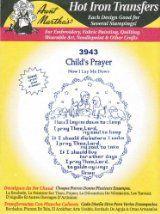 Child's Prayer Aunt Martha's Hot Iron Embroidery Transfer