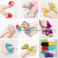 Infant Baby Girls shoe Barefoot Sandal Foot Flowers Toe Blooms 0-12 months - EBAY - so so cute