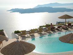 Image via We Heart It #beach #beautiful #flowers #Greece #holidays #like #love #magical #paradise #pool #relax #santorini #sea #sky #summer #swimmingpool #water