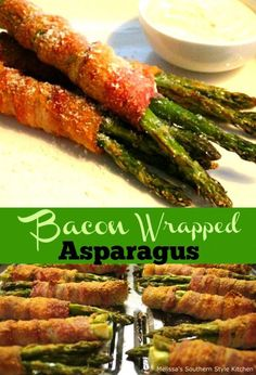 Assemble these gorgeous Bacon Wrapped Asparagus Bundles in advance of your special ocassion meal, and they'll be ready to bake just before serving. Bacon Wrapped Asparagus Baked, Asparagus In Oven, Asparagus Bacon, Baked Asparagus Recipes, Bacon Recipes, Vegetable Recipes, Cooking Recipes, Healthy Recipes, Keto Recipes