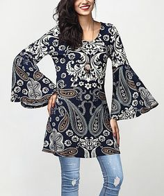Love this Navy Paisley Bell-Sleeve Tunic by Reborn Collection on #zulily! #zulilyfinds