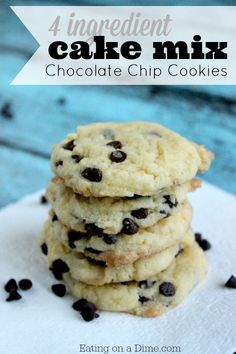 Cake mix Chocolate Chip Cookies are easy to make with only 4 ingredients! Plus they taste amazing. They are perfect to make with the kids.