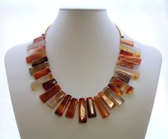 Carnelian Necklace Gold Necklace Fringe by ElsaWadesdesigns, $95.00