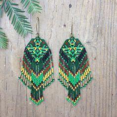 Kaikara...Fractal seed bead earrings sacred by DancingWillowDesign