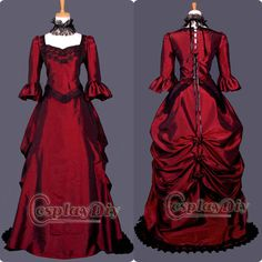 Free Shipping Custom made Medieval Victorian Gown Ball Costume Wine Red Gothic Punk Dress-in Costumes & Accessories from Apparel & Accessori...