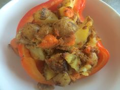 Sweet potato, potato hash baked in red bell peppers.
