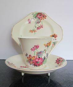 Art Deco Thomas Hughes (Unicorn) China Cup Saucer & Side Plate Trio | eBay
