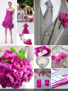 gray+and+fuschia+images | love the orchid boutonnieres and hot pink votives