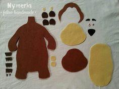 Orso l'amico di Masha Beginner Quilt Patterns, Quilting For Beginners, Masha Doll, Felt Board Templates, Marsha And The Bear, Bear Template, Bear Felt, Felt Stories, Felt Quiet Books
