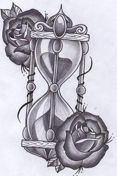 Disegno per tatuaggio clessidra con rose