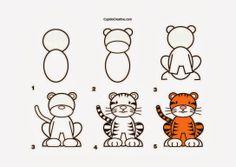 kerajinan anak TK/SD, langkah/cara menggambar harimau & mewarnai