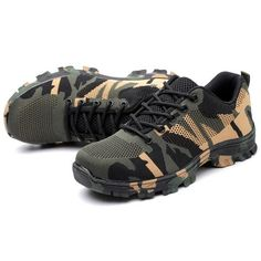Mens Steel Toe Work Shoes Lace-up Slip-resistant Camouflage Athletic – roarwild Steel Toe Work Shoes, Toe Shape, Fashion Shoes, Sneakers Fashion, Shoes Online, Camouflage, Bag Accessories, Hiking Boots, Athletic Shoes