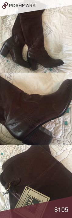 "Frye riding boots 🐴 Gorgeous Frye tall boots. I got these as a gift but they are way too big for me and I unfortunately do not know the true size, I cannot find it anywhere on the boot! My guess is somewhere between a 7 and 8. These have never been worn but have some minor scuffing from being in storage. They are about 9.5"" from heel to toe, with a 3"" heel and a 15.5"" shaft. Frye Shoes Over the Knee Boots"