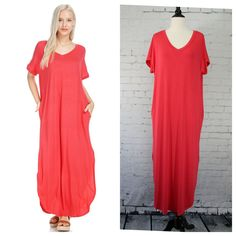 """Loose fitting v-neck maxi with short sleeves and side pockets. Dress has side slits, and fabric is a soft, comfortable jersey. Hems are slightly rounded on sides of slits. Measurements: armpit to armpit - S 22"""", M 23"""", L 24"""", shoulder to hem - S 54"""", M 54"""", L 54"""""""