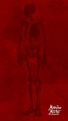 Digital process: Painting a human male skeleton / Proceso de pintura digital: pintando un esqueleto humano masculino