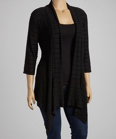 Love this Black Three-Quarter Sleeve Open Cardigan - Plus by Simply Irresistible on #zulily! #zulilyfinds