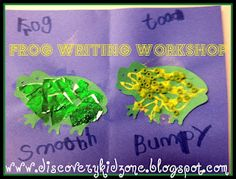 Frog and toad writing and sensory art.  What other materials could you use to mimic smooth and bumpy skin?