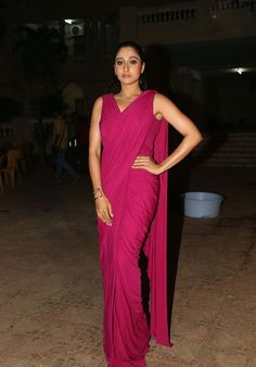 Regina Cassandra in Pink Plain Saree Gown at Soukhyam Press Meet