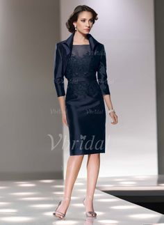 Sheath/Column Scoop Neck Knee-Length Satin Mother of the Bride Dress With Lace (0085057351) - Vbridal